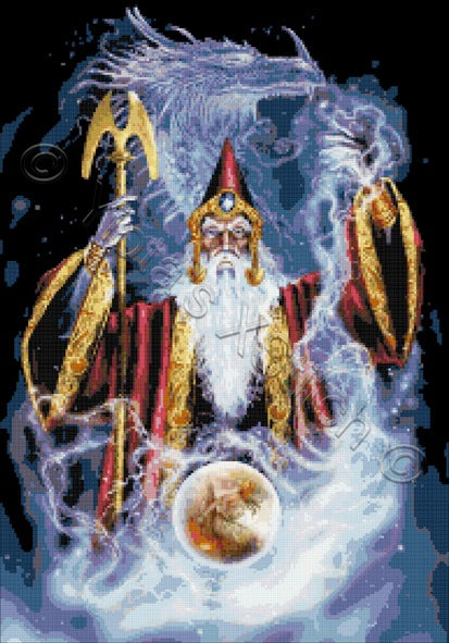 Wizard and dragon counted cross stitch kit
