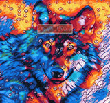 Abstract wolf in circles counted cross stitch kit