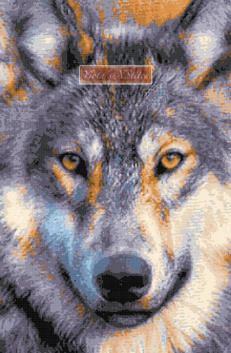 Wolf face counted cross stitch kit