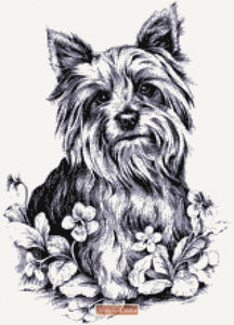 Yorkie in black, grey, white counted cross stitch kit