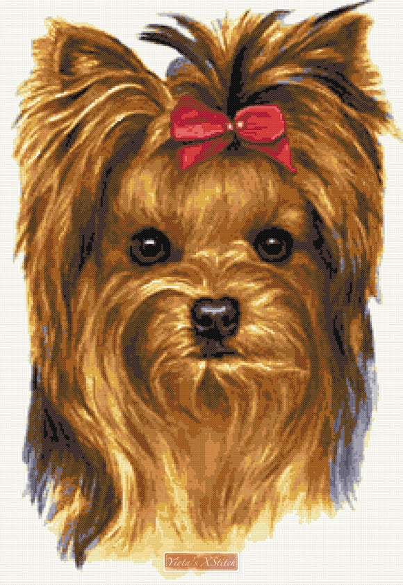 Yorkshire Terrier with bow counted cross stitch kit