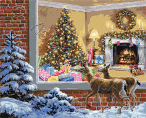 You better be good, reindeers looking at the Christmas tree counted cross stitch kit