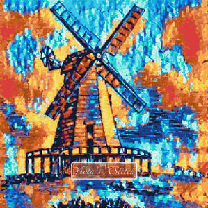 Abstract windmill counted cross stitch kit