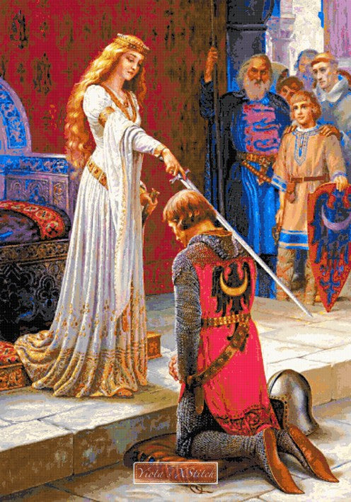 The accolade by Edmund Leighton in cross stitch kit