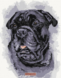 Black Bull Mastiff counted cross stitch kit