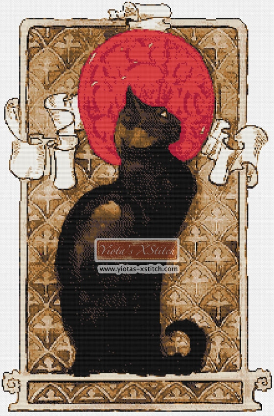 Black cat Art Nouveau counted cross stitch kit