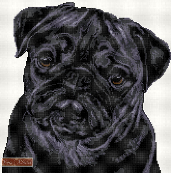 Black pug counted cross stitch kit