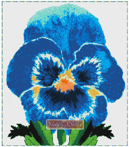 Blue pansy counted cross stitch kit