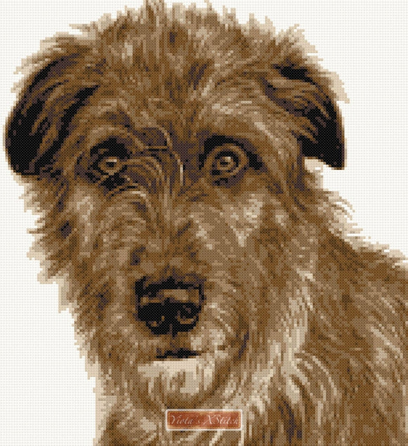 Brown Irish Wolfhound counted cross stitch kit