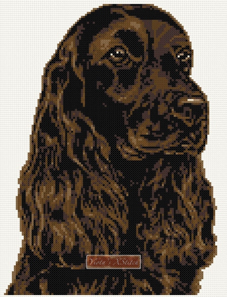 Chocolate cocker spaniel counted cross stitch kit