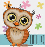 Cute owl counted cross stitch kit