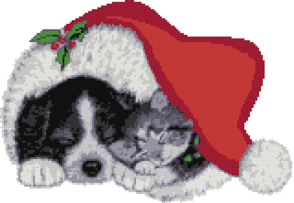 Dog and cat in Christmas hat (v2) counted cross stitch kit
