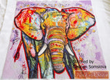 Elephant abstract counted cross stitch kit