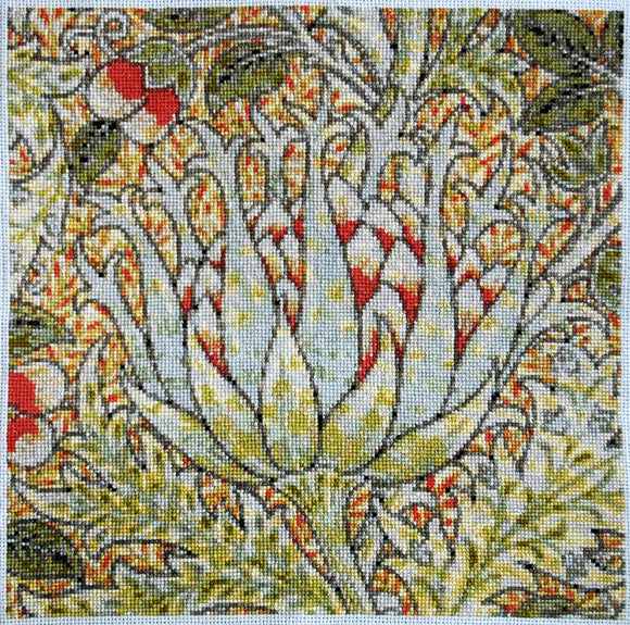 Exotic flower by William Morris counted cross stitch kit