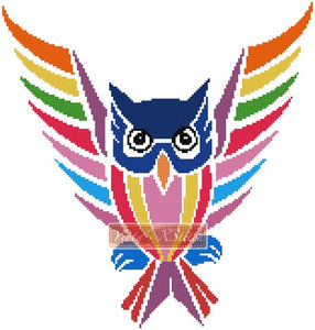 Flying owl counted cross stitch kit