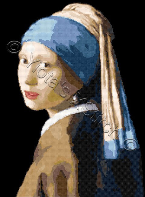 Girl with pearl earring by Vermeer counted cross stitch kit