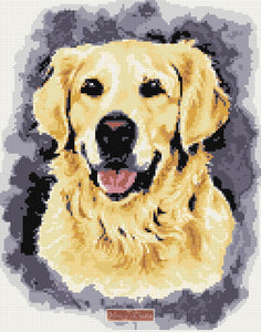 Golden retriever smile counted cross stitch kit