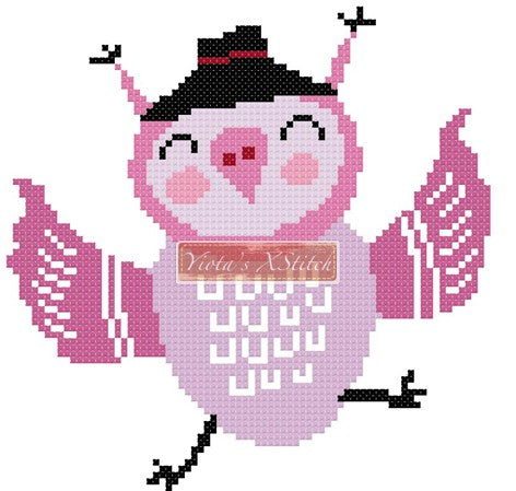 Happy owl counted cross stitch kit