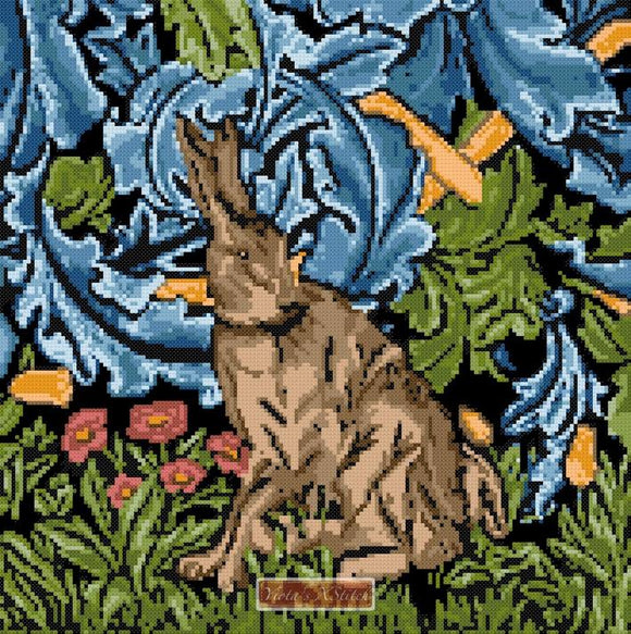 Hare by William Morris counted cross stitch kit