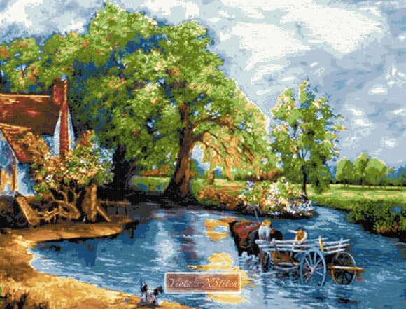 The haywain by Constable in large and advanced counted cross stitch kit.