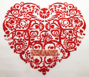 Heart with swirls No2 counted cross stitch kit