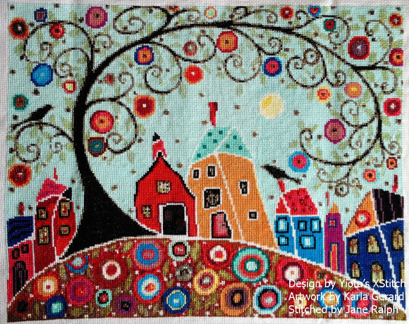 Houses barn birds swirl tree counted cross stitch kit Modern and abstract landscape in counted cross stitch kit with whole stitches only.