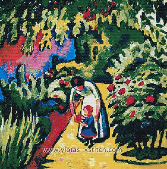 A mother with her daughter in the garden by August Macke in counted cross stitch kit