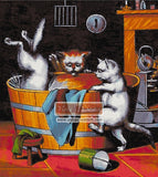 Kitty bath counted cross stitch kit