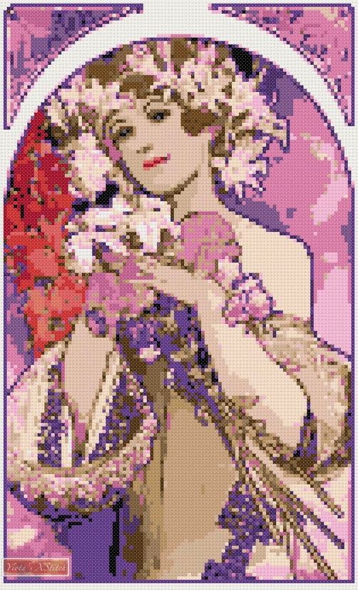 La Fleur Mucha counted cross stitch kit