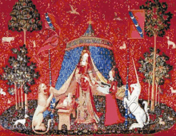 Lady with unicorn counted cross stitch kit