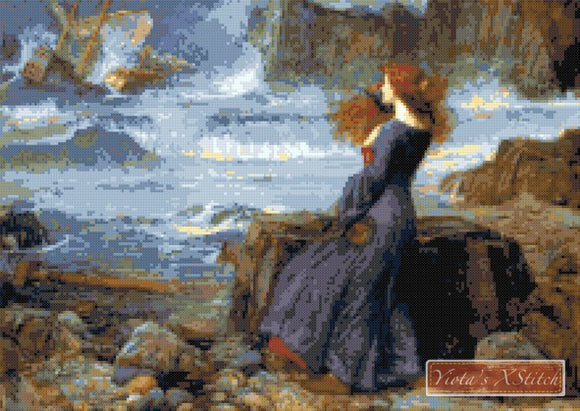 Miranda the tempest by Waterhouse counted cross stitch kit