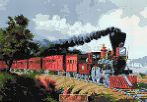 Old steam train counted cross stitch kit