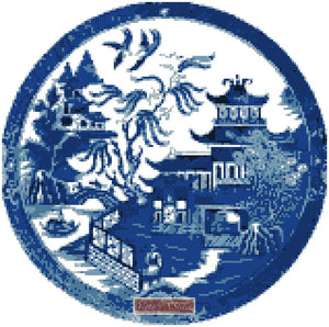 Oriental blue willow pagoda counted cross stitch kit