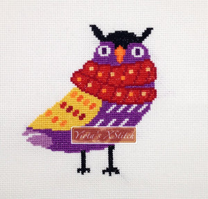 Owl with scarf, small beginner counted cross stitch kit
