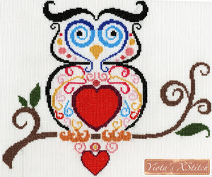 Owl in swirls counted cross stitch kit