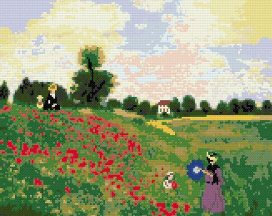 Poppies field Monet counted cross stitch kit