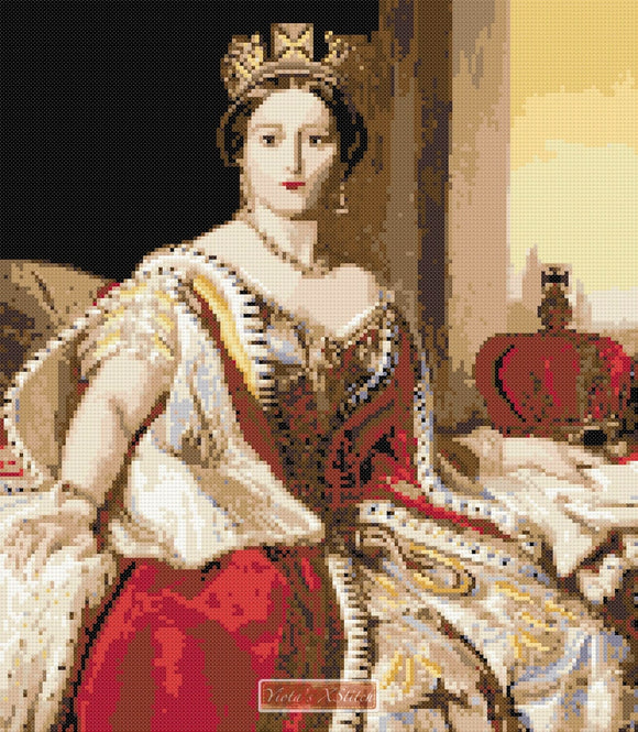 Portrait of Queen Victoria by Franz Xavier Winterhalter in counted cross stitch kit