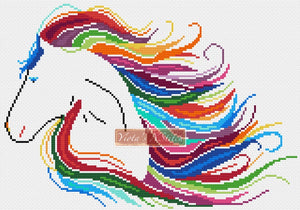 Rainbow horse (v2) counted cross stitch kit