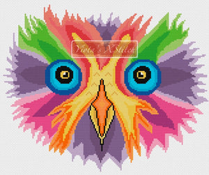 Rainbow owl (v2) counted cross stitch kit