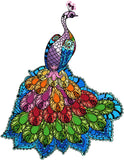 Rainbow peacock counted cross stitch kit