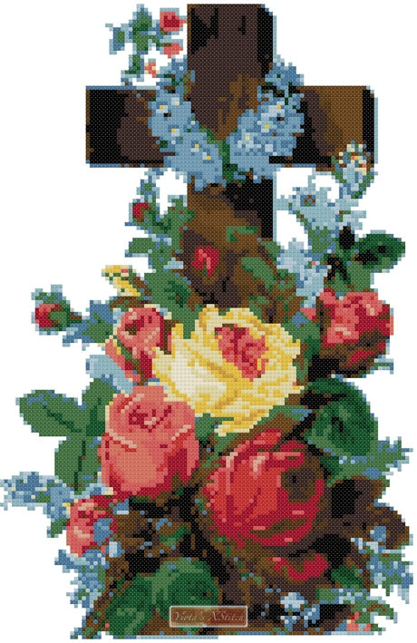 Religious cross with roses counted cross stitch kit