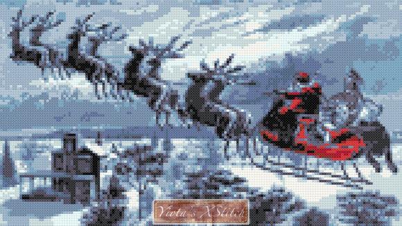 Santa on sleigh v2 counted cross stitch kit
