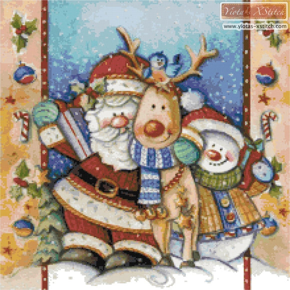Santa with his friends counted cross stitch kit