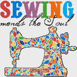 A sewing machine in mosaic rainbow colours counted cross stitch kit