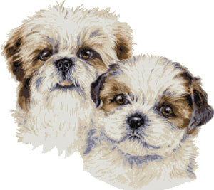 Shih Tzu puppies counted cross stitch kit