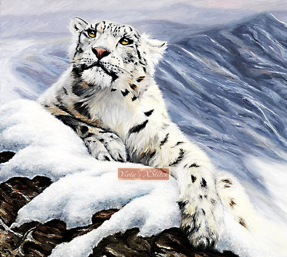 Snow leopard, large and advanced counted cross stitch kit.