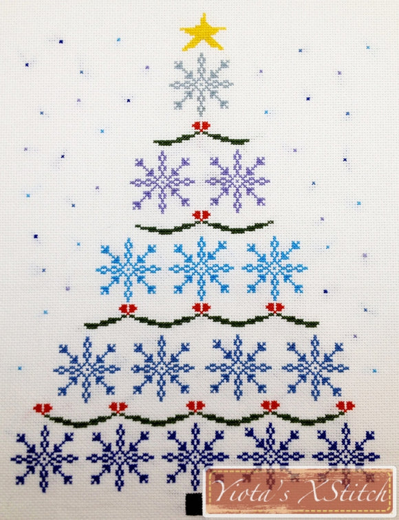 Snowflake christmas tree counted cross stitch kit