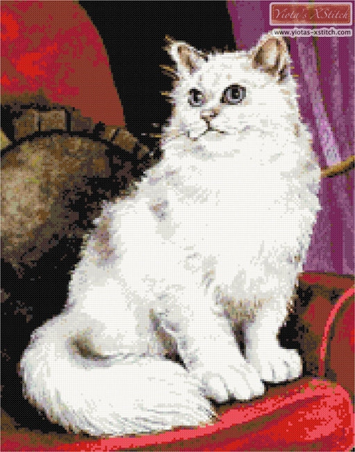 White cat counted cross stitch kit