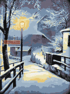 Winter snowed path (v2) counted cross stitch kit