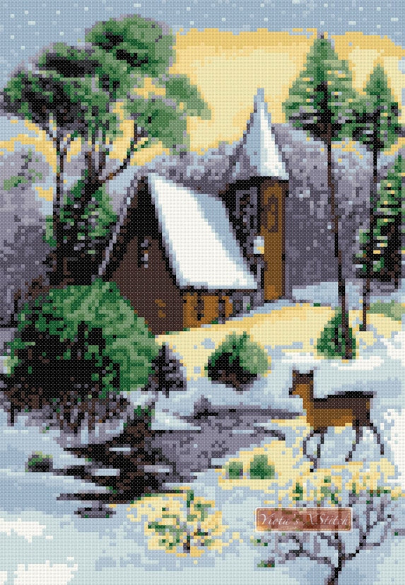 Winter scene with deer (v2) counted cross stitch kit